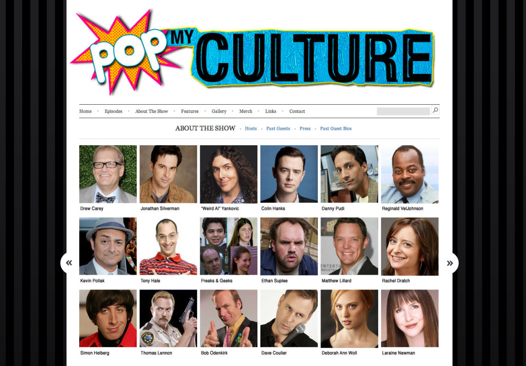 Pop My Culture podcast website